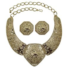"""Elaborate Barrera for Avon """"Spanish Style"""" Huge Bib Necklace and Earring Set - Book Piece"""
