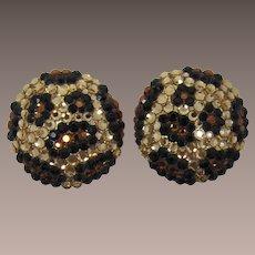 Glitzy Earrings with Black and Topaz Rhinestones