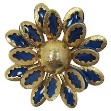 Pretty Gold-tone and Deep Blue Enameled Flower Brooch