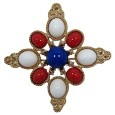 Sarah Coventry Patriotic Red, White and Blue Cabochon Brooch