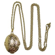 Avon Gold-tone Double Sided Locket Pendant Necklace - Book Piece