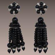 Black Beaded Chandelier Dangling Earrings