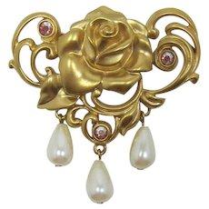 Avon Bright Gold-tone Victorian Rose Pin - Book Piece