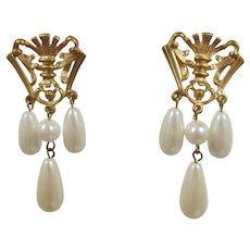 Avon Bright Gold-tone Royal Crest Dangling Earrings