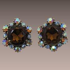 Large Smoky Topaz Rhinestone Earrings - Florenza