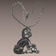 Vendome Huge Gunmetal Foo Dog Pendant Necklace