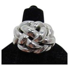 Trifari Bright Silver-tone Basketweave Ring
