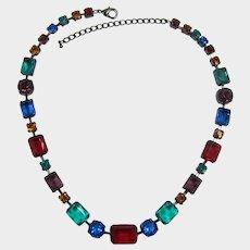 Beautiful Gunmetal Necklace with Jewel-tone Rhinestones