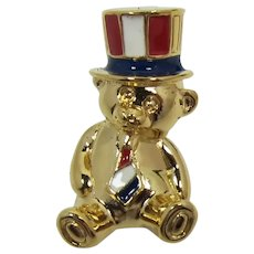 Avon Patriotic Teddy Bear Pin - Red, White, Blue