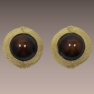 Ciner Brown and Gold-tone Earrings
