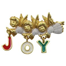 Danecraft Three Angels Christmas Brooch with Enameled Letters JOY