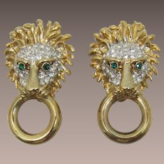 Craft Lion Head Earrings with Clear and Green Rhinestones