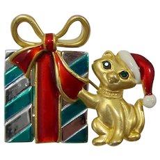 Danecraft Christmas Pin with Santa Cat and Presents