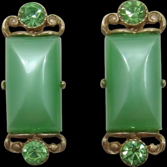 e7692f8a2397 Selro Apple Green Moonglow Cuff Links : Past Perfection Vintage Costume  Jewelry | Ruby Lane