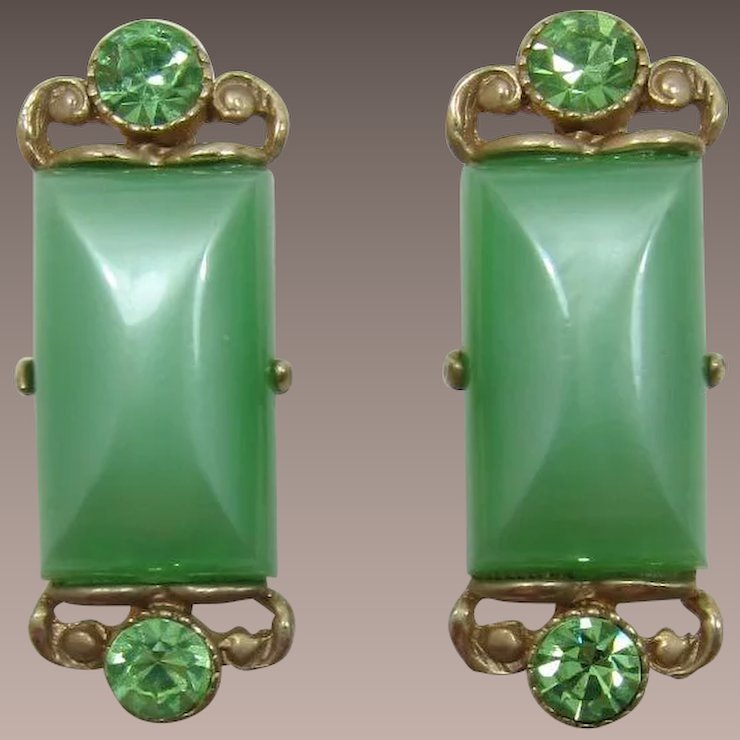 7ea4363630c3 Selro Apple Green Moonglow Cuff Links : Past Perfection Vintage ...
