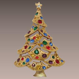 J.J. Jonette Christmas Tree Pin with Topaz, Red, Blue, Green Rhinestones