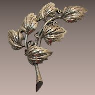 Tortolani Large Silver-Plated Leafy Brooch