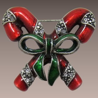 Double Candy Cane Christmas Pin