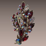 Beau Jewels Deep Red and Pink AB Navette Rhinestone Brooch