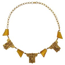 Czechoslovakia Egyptian Revival Necklace with Topaz Glass