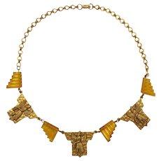 Czechoslovakia Egyptian Revival Necklace with Topaz Glass