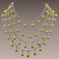 Four Strand Necklace with Bright Yellow Pearlized Beads