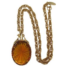 Whiting & Davis Huge Topaz Glass Pendant Necklace