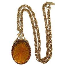 Whiting & Davis Huge Topaz Glass Pendant Necklace
