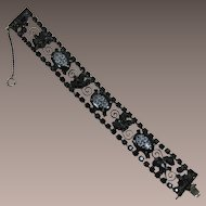 DeLizza and Elster Juliana Black Rhinestone Bracelet with White Floral Transfer Cabochons
