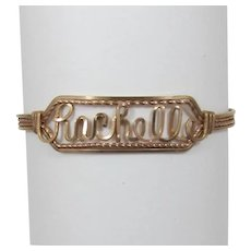 "Vintage Wire Wrapped Name Bracelet - ""Rachelle"""