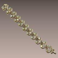 Bright Gold-tone Link Bracelet with Aurora Borealis Rhinestones