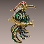 Green and Blue Enameled Fantasy Bird on a Limb