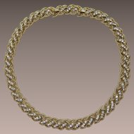 Trifari Gold-tone Lattice Necklace with Clear Rhinestones