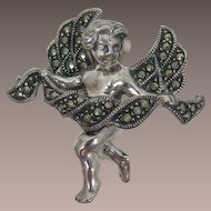 Judith Jack Sterling Silver Angel Brooch with Marcasites