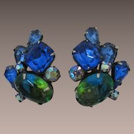 Green and Blue Bi-Color Rhinestone Earrings with Blue Rhinestones