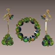 Weiss Tourmaline Green Rhinestone Brooch and Earrings Set