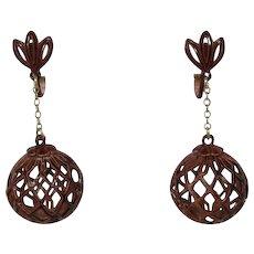 Enameled Medium Brown Dangling Earrings