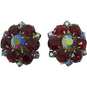 Ruby-Red and Red Aurora Borealis Rhinestone Earrings