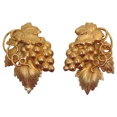 Napier Gold-tone Grapes and Leaves Earrings