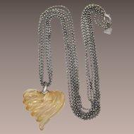 Anne Klein Light Golden Heart Pendant Necklace