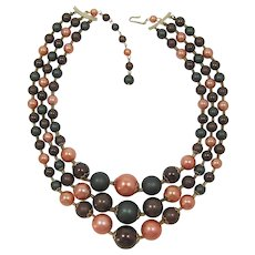 Japan Three Strand Necklace Brown, Peach and Green Beads
