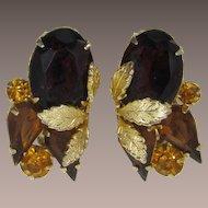 Beautiful Gold-tone Leaves and Smoky Topaz Rhinestone Earrings
