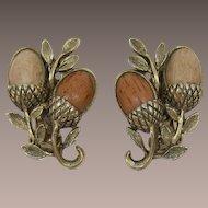 Two-Tone Faux Wood Earrings