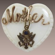 "WWII Mother-of-Pearl Heart-Shaped ""Mother"" Pin with U.S. Army Emblem"