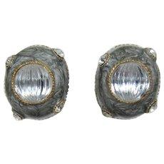 Maresco Grey Enameled Earrings with Rhinestones
