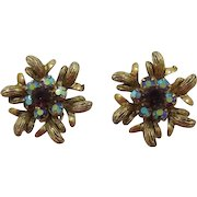 Selro/Selini Purple and AB Rhinestone Earrings - Book Piece