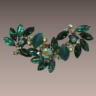 Judy Lee Large Green Navette and AB Rhinestone Brooch