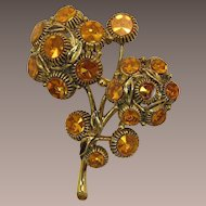 Weiss Topaz Rhinestone Double Flower Brooch