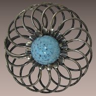 Large Gunmetal Spiral Brooch with Huge Turquoise Matrix Cabochon