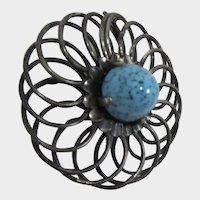 Large Gunmetal Spiral Brooch with Huge Turquoise Matrix Cabochon